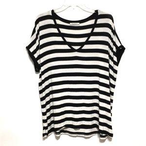 Zara Black and White Striped Large Tee T-Shirt